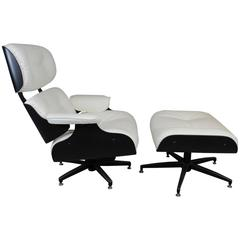 Eames Style Lounge Chair and Ottoman in Black and Ivory