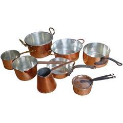 Small Batterie De La Cuisine of Re-Tinned Copper Pans and Pots