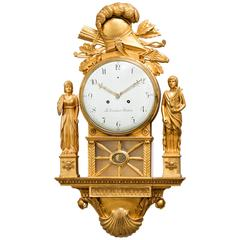 Unusual Swedish Early 19th Century Empire Wall Cartel Clock by Cederlund