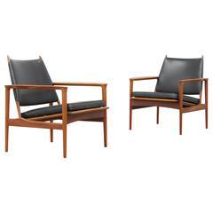 """Set of Teak Easy Chairs """"Broadway"""" by Torbjorn Afdal for Svein Bjørneng, 1958"""