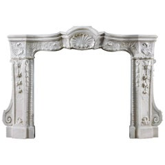 Rare 18th Century Italian Baroque Fireplace Mantel Carved in Statuary Marble