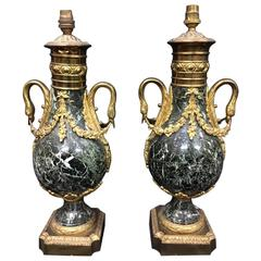 Pair of Green Marble Lamps, 19th Century