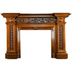 Enormous Antique Walnut Fireplace Mantel Signed Carlo Scarselli