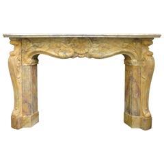19th Century Scottish Rococo Sienna Marble Chimneypiece