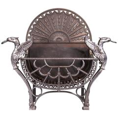 Large English Wrought and Cast Iron Fireplace, Fire Grate