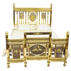 Antique Edwardian Polished Brass Double Bed, circa 1900