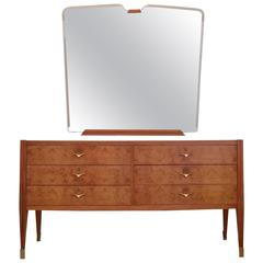 Italian 1950s Sideboard and Mirror Attributed to Paolo Buffa