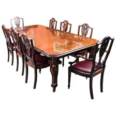 Antique Victorian Mahogany Dining Table and Eight Chairs