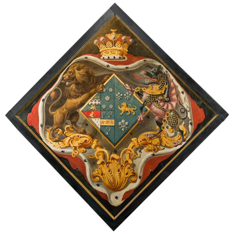 Late 18th Century Armorial Hatchment Panel