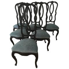 Set of Six Chairs Painted Black, Italy