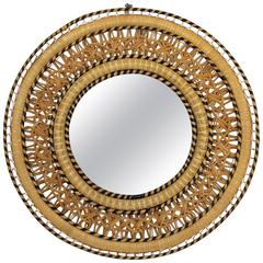 Rare Woven Wicker Circular Mirror in the Emmanuelle Chair Manner