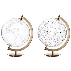 Coexist Mod Sky and Mod Ground Glass and Brass Globe and Stellar Map