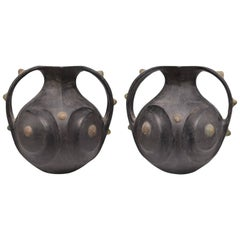 Pair of Chinese Han Dynasty Black Pottery Amphorae