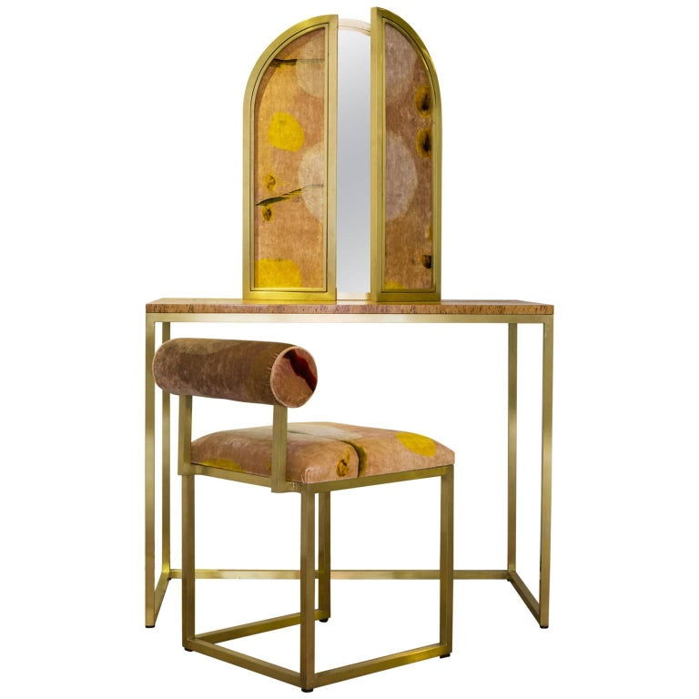 Awaiting Vanity Table with Mirror Velvet and Brass For Sale