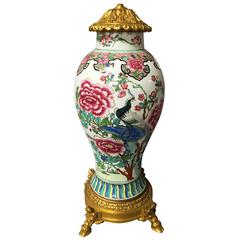 19th Century Famille Rose Vase / Lamp