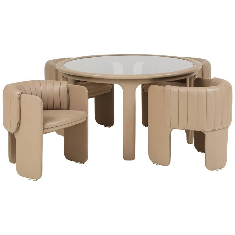 Signed Italian Mid-Century Modern Poltrona Frau Dining or Game Table with Chairs 1