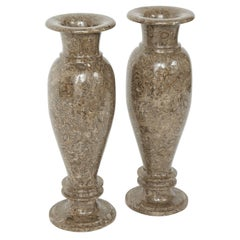 Pair of Gotland Limestone Vases