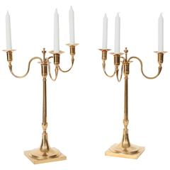 Large Pair of Swedish Brass Candelabra from Skultuna