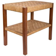Walnut and Rush Two-Tiered Side Table