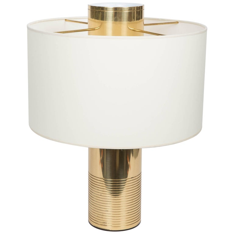 Round Modern Italian Brass Table Lamp For Sale