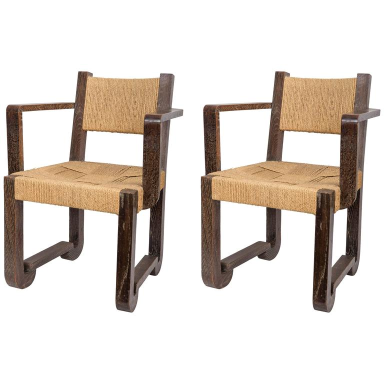 Set of Four Wooden and Rush Side Chairs 1