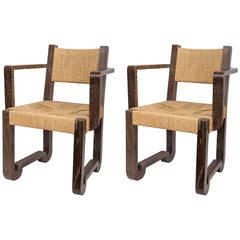 Set of Four Wooden and Rush Side Chairs