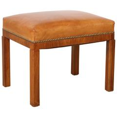 Swedish Walnut and Leather Stool Attributed to Erik Chambert