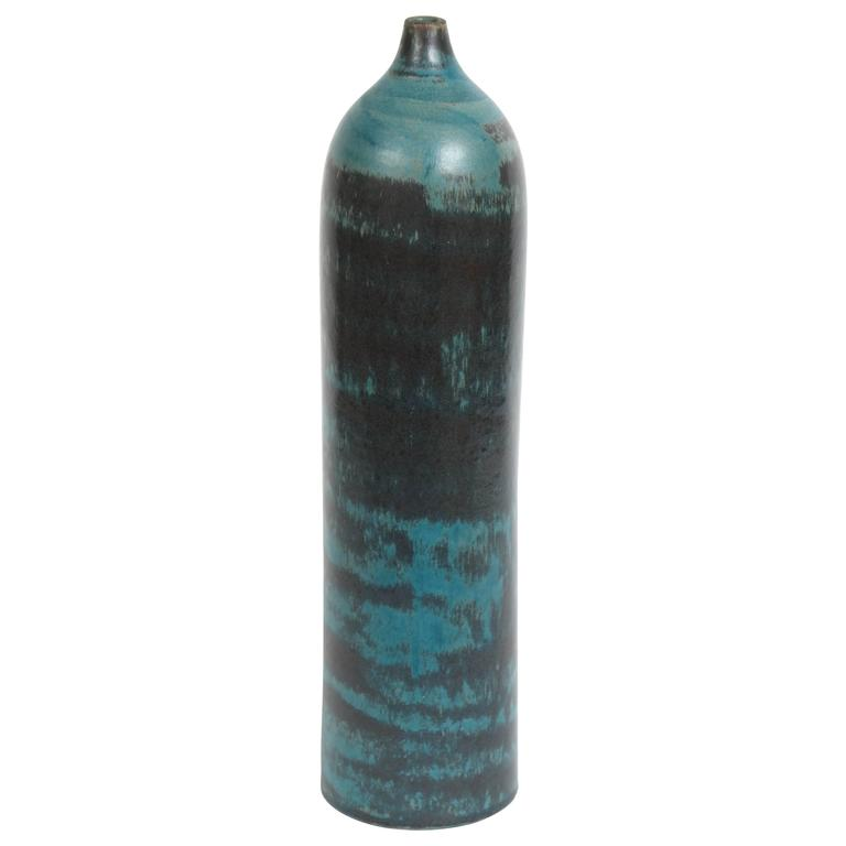 Marcello Fantoni Cylindrical Ceramic Bottle Vase, Glazed Stoneware, circa 1960s