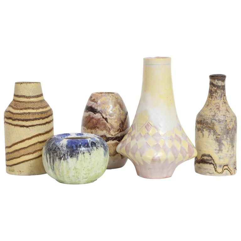 Marcello Fantoni Small Ceramic Vases, circa 1960s - 1970s For Sale