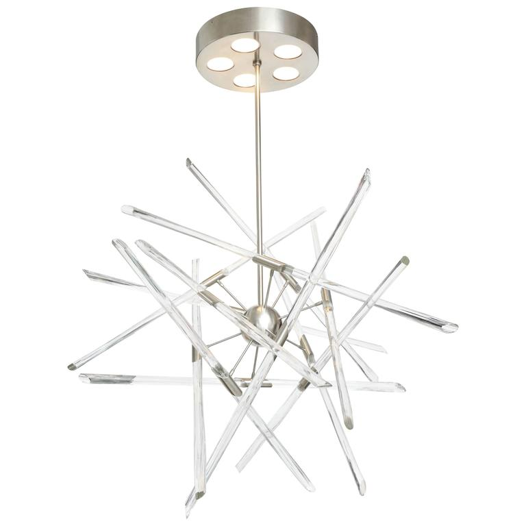 Barry Entner Tangent Glass and Metal Chandelier, 2016 For Sale