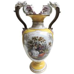 LARGE 21 inch German KPM Two-Handled Vase, Scenes Both Sides, Mask Handle