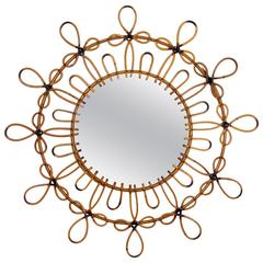 Spanish 1960s Double Layered Flower Burst Wicker Mirror