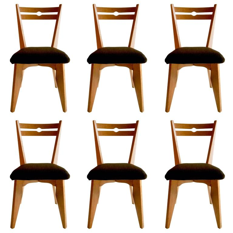 Set of Six Dining Oak Chairs by Guillerme et Chambron