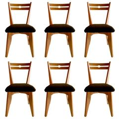 Set of Six Dining Oak Chairs by Guillerme & Chambron