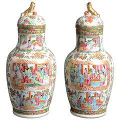 19th Century Pair of Chinese Canton Vases and Covers