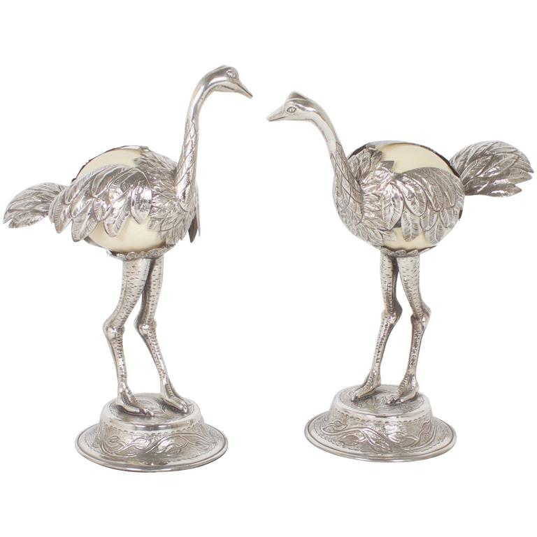 Pair of Mid-Century Silvered Ostrich Sculptures Constructed with Ostrich Eggs For Sale