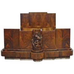 Italian Art Deco Walnut Queen Bed