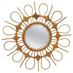 Unusual Spanish Mid-Century Rattan Flower Burst Mirror