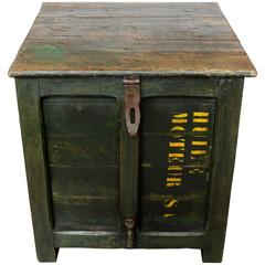 Antique French Green Oil Storage as Trunk Table, circa 1910