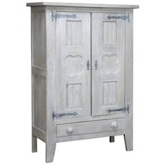 Rustic Country French Painted Gothic Cabinet
