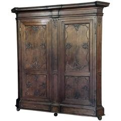 18th Century Antique Country French Oak Grand Chateaux Armoire
