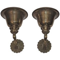 Pair of Bronze Uplight Sconces