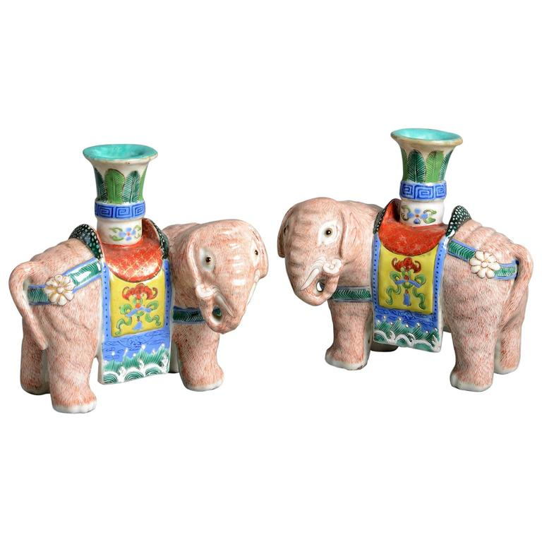 Pair of 19th Century Porcelain Pink Elephant Incense Stick Holders