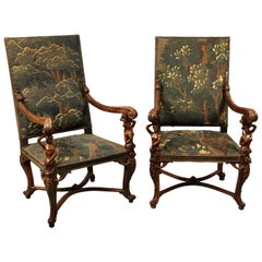 Fine Pair of Late 19th Century Carved Wood Armchairs