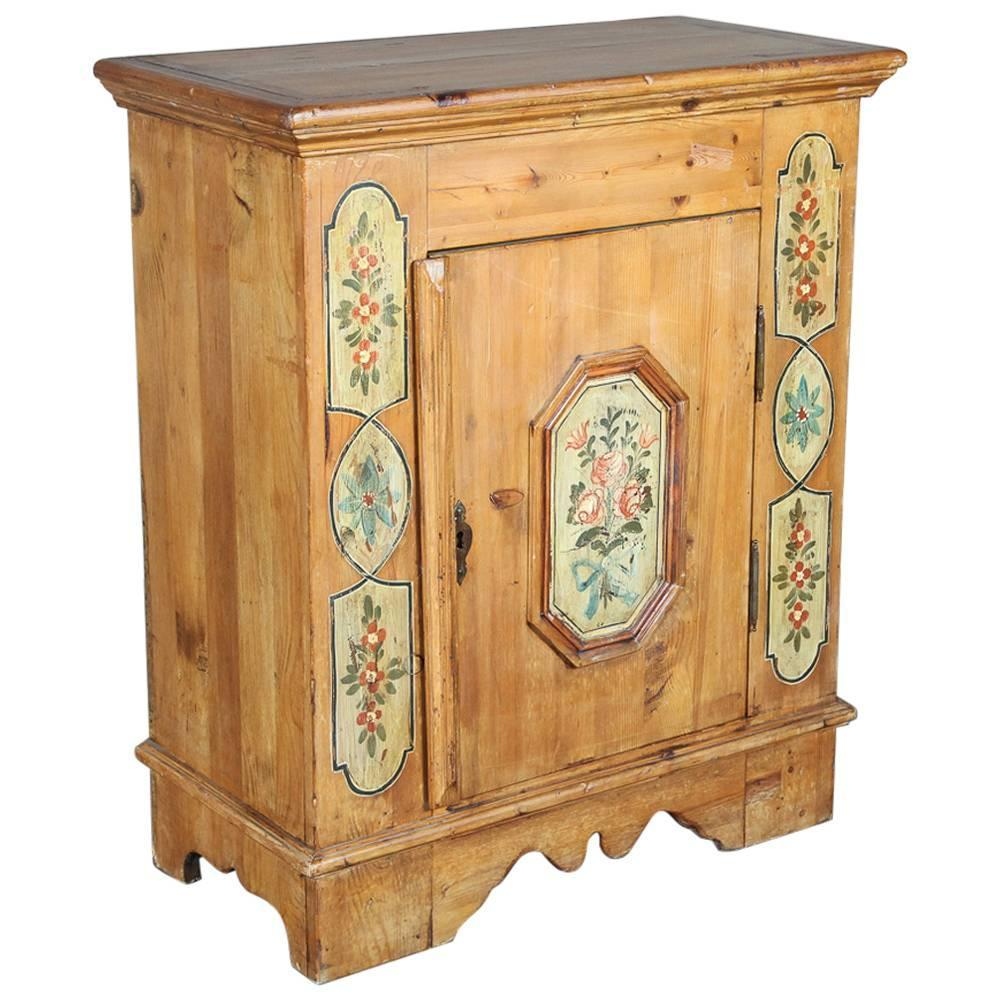 Italian Hand Painted Country Pine Confitureier Cabinet