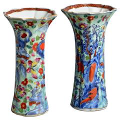 Pair of 18th Century Clobbered Porcelain Turquoise, Blue & Red Trumpet Vases