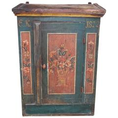 French Deil Painted & Stenciled Hanging Cabinet, Circa 1822