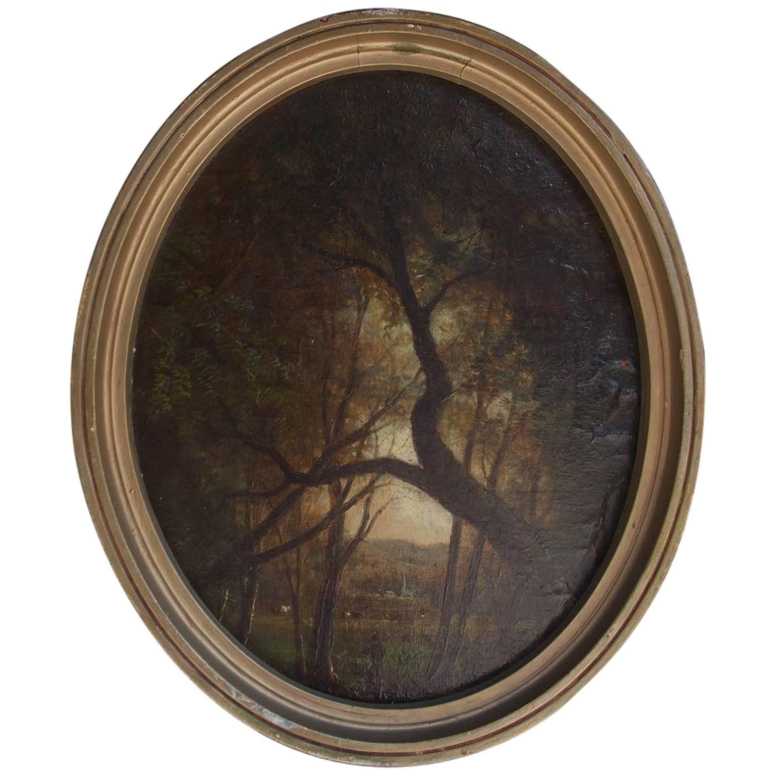 American Diminutive Oval Oil on Canvas Landscape, Circa 1870