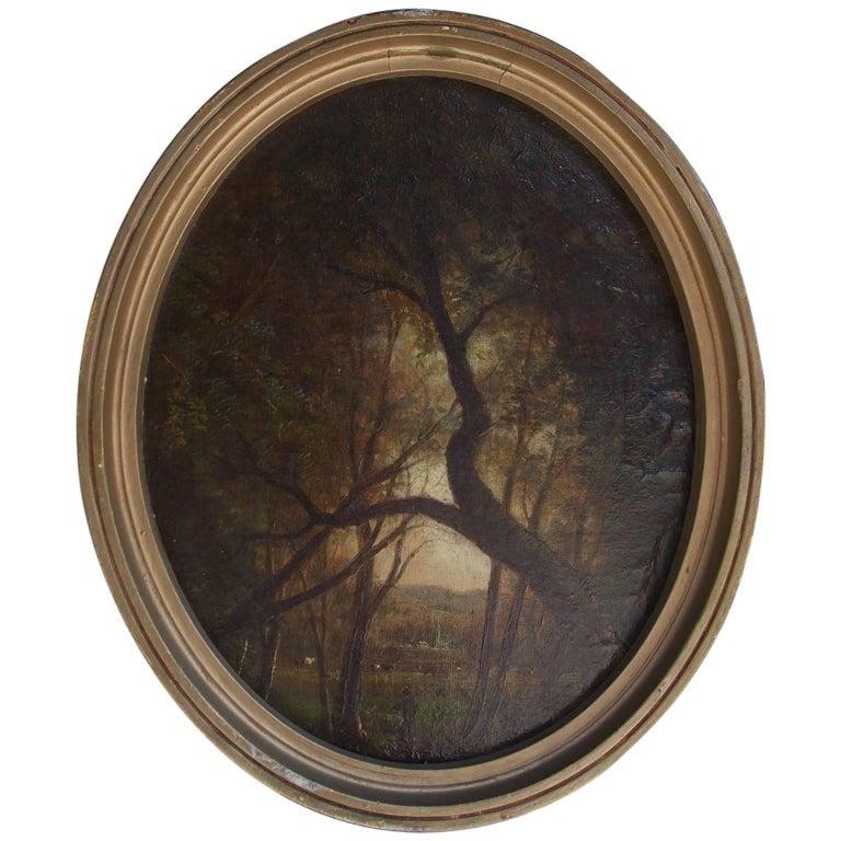 American Diminutive Oval Oil on Canvas Landscape, Circa 1870 For Sale