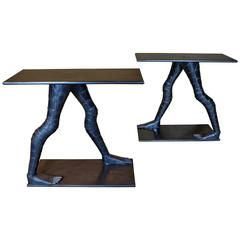 Pair of Soldered Iron Walking Consoles
